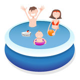 Family in pool. Father, mother and child in pool, cartoon illustration Stock Photos
