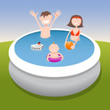 Family in pool. Father, mother and child in pool, cartoon illustration Royalty Free Stock Image