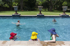 Family Pool Summer Stock Photo