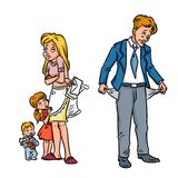 Family poor little money cartoon Royalty Free Stock Images