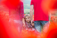 Family on the poppy field Royalty Free Stock Photography