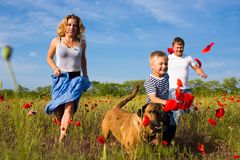 Family on the poppy meadow. Family of four person playing on the poppy field