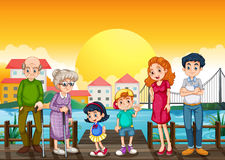 A family at the port. Illustration of a family at the port Royalty Free Stock Photo