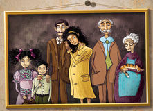 Family portrait. Old family portrait. Raster illustration stock illustration