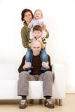 Family portrait. A family portrait with parents and young kids royalty free stock image