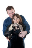 Family portrait. Of the husband with the pregnant wife and domestic polecats stock photo