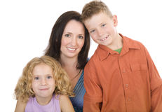 Family portrait 2. Mother and her two children Stock Images