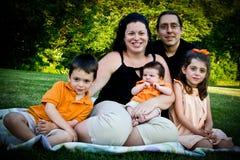 Family Portrait. A family portrait at a park setting Stock Photos