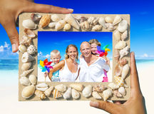 Family portrait on the beach Royalty Free Stock Image