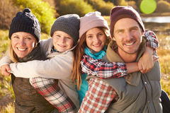 Family portrait, Bluff Lake, Big Bear, California, USA Stock Photo