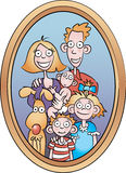 Family Portrait. A cartoon portrait of a happy family with their dog Stock Illustration