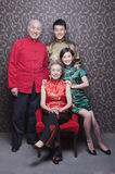 Family Portrait In Chinese Traditional Clothing royalty free stock photography