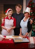 Family portrait at christmas baking Stock Images