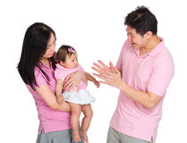 Family portrait, daddy play with daughter Royalty Free Stock Image