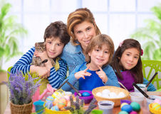 Family portrait in Easter time Stock Photos