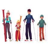 Family portrait of father, mother, daughter and son with ski Stock Photos