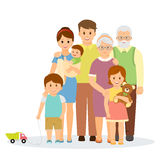 Family portrait. In flat style.Smiling family with parents, children and grandparents. on white background.Vector illustration Stock Photography