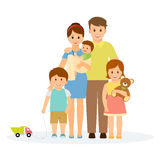 Family portrait. In flat style.Smiling family with parents, children and grandparents. on white background.Vector illustration Stock Images