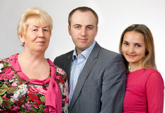 Family Portrait, Grandmother, Son, Daughter Stock Image
