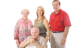 Family portrait with handicap father. Isolated on white Stock Photos