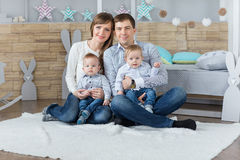 Family portrait of happy mom dad Stock Images