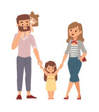 Family portrait illustration. Beautiful young family portrait and happy family portrait. Family portrait togetherness smiling man beautiful, woman cute baby Stock Photos