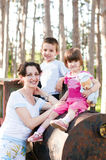Family portrait on a locomotive Royalty Free Stock Images