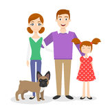 Family portrait: mom, dad, daughter and family dog-french bulldog Royalty Free Stock Photos