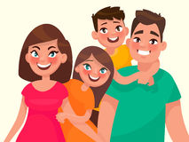 Family portrait. Mom dad daughter and son. Vector illustration i Stock Images