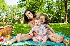 Family portrait - mother with children Stock Images
