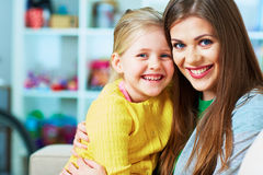 Family portrait. Mother, daughter. Happy girl. Stock Photo