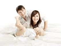 Family Portrait, Mother Father and Baby, Happy Parents with Kid royalty free stock images