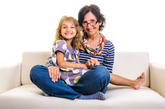 Family portrait mother and girl Stock Photos