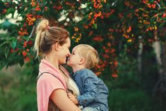 Family portrait of mother and son in nature stock images