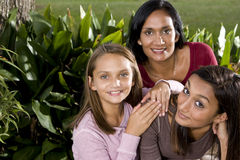 Family portrait, mother with two beautiful daughte Royalty Free Stock Photos