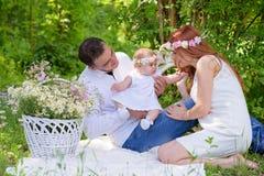 Family portrait outdoors picnic stock photos