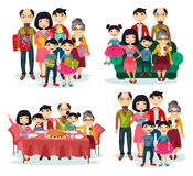 Family portrait with parents and children on sofa. Asian family with father and mother, children and grandparents, brother and sister with gifts at portrait on Royalty Free Stock Image
