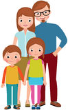 Family portrait of parents and their children, son and daughter vector illustration