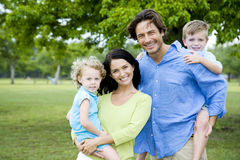 family portrait in park royalty free stock photo