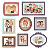 Family portrait photos. Pictures people photo frame happy characters relatives dynasty parents kids relationship, flat. Family portrait photos. Pictures people stock illustration