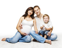 Family Portrait, Pregnant Mother Father Child Boy, Parents Kid Stock Images