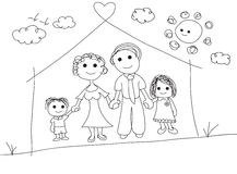 Family Portrait Scribble Drawing Illustration Stock Photos