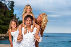 Family portrait at seaside. stock photography