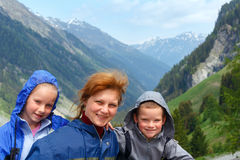 Family portrait in Alps mountain Royalty Free Stock Photos