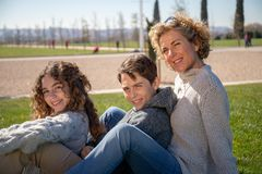 Family portrait on a sunny day with a very loving attitude royalty free stock photography