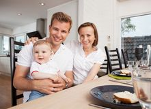 Family Portrait at Table Royalty Free Stock Photography