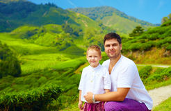 Family portrait on tea plantation, Cameron Highlands Stock Images