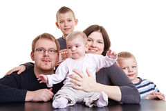 Family portrait with three children Stock Photography