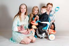 Family portrait of three generations stock photo
