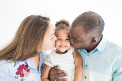 Family portrait on a white background. Happy multiethnic family. Family values.  royalty free stock photography